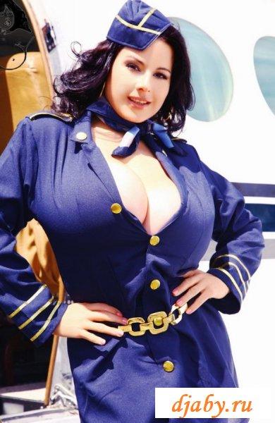 Большие буфера милой стюардессы